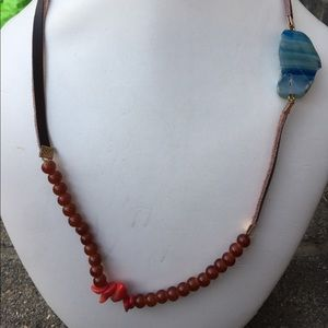 Jewelry - Blue/White Striped Lace Agate Coral Necklace 22.5""